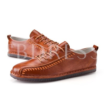 Sewing Tie Up Men's Casual Work Shoes