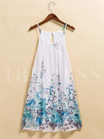 White Floral Straight Women's Day Dress
