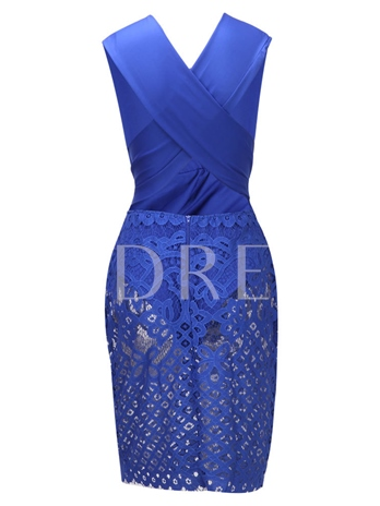 Blue Lace Patchwork Women's Party Dress
