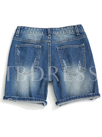 Hole Loose Summer Men's Short Jeans