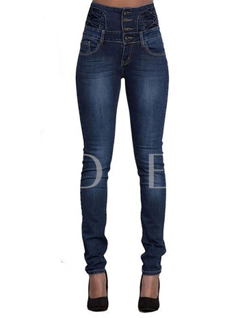 High Waist Button Slim Fit Denim Women's Jeans