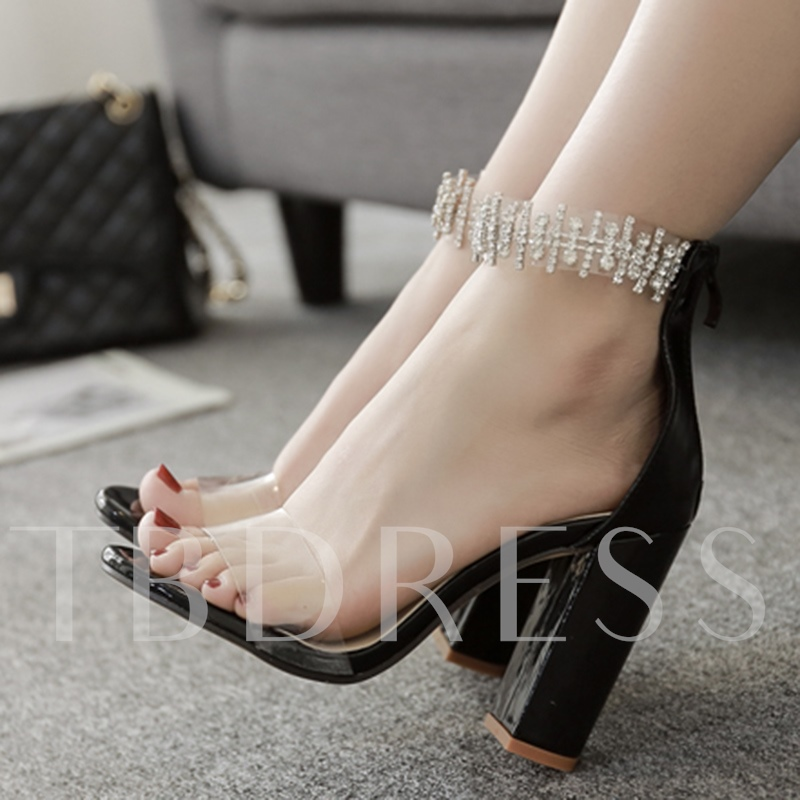 Thick Heel Rhinestone Back Zipper Clear Jelly Women's Delicacy Sandals