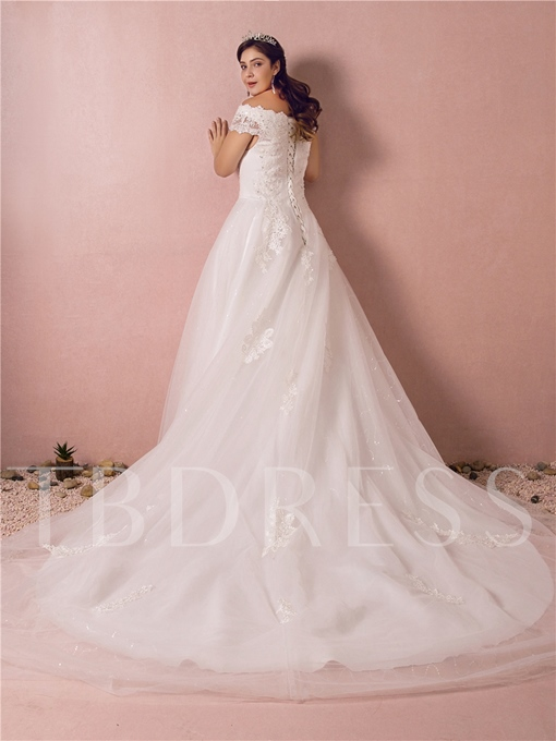 Cap Sleeve Appliques Beading Plus Size Wedding Dress