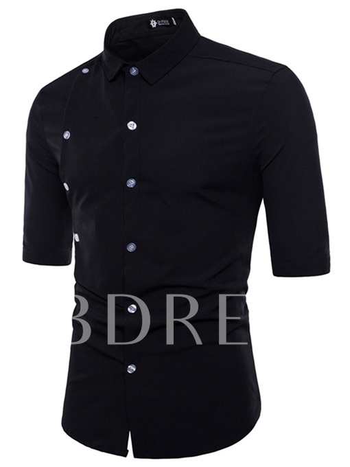 Lapel Double Breasted Plain Slim Men's Shirt