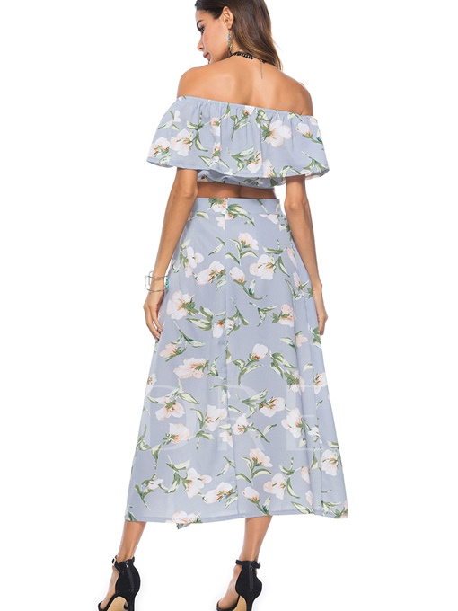 Floral Print Off Shoulder Crop Top with Skirt Women's Two Piece Dress