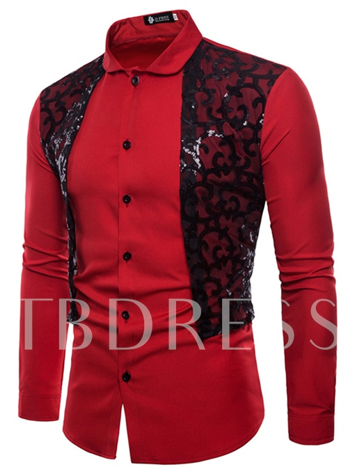 Paillette Lace Decorated Slim Men's Shirt
