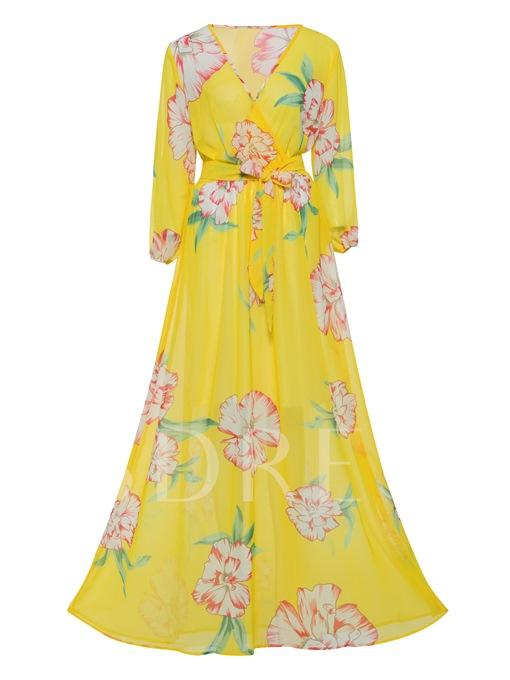 V-Neck Floor-Length Floral Print Maxi Dress