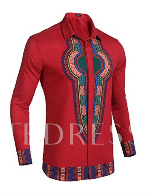 Lapel Red Dashiki Style Slim Men's Shirt
