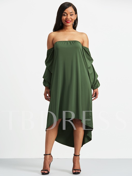 Plain off-Shoulder Tiered Sleeve Women's Maxi Dress