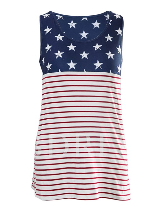 Plain Color Block American Flag Women's Tank Top