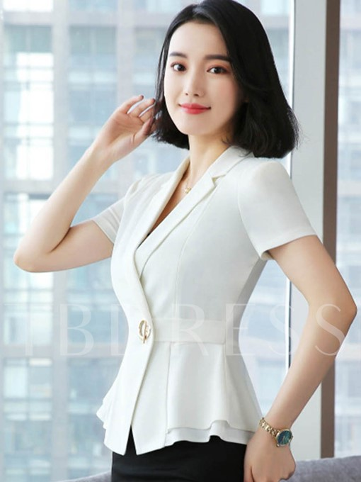 Slim Fit Short Sleeve Peplum Women's Blazer