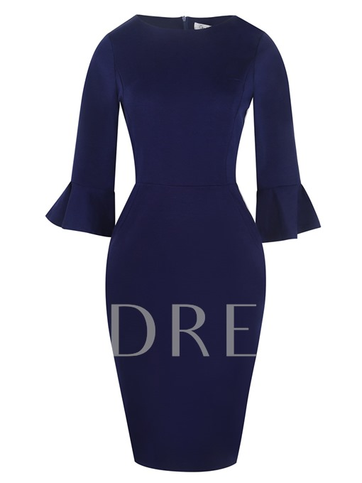Solid Color Bell Sleeve Women's Bodycon Dress