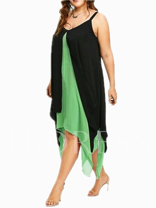 Plusee Double-Layered Asym Women's Day Dress