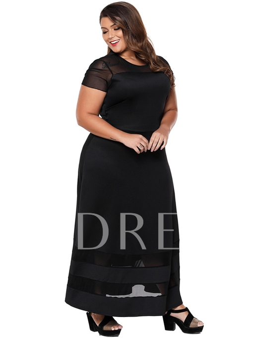 Plus Size Black Mesh Sleeve A-Line Maxi Dress