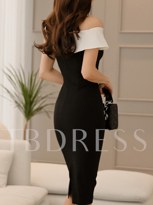 Black Slash Neck Women's Bodycon Dress