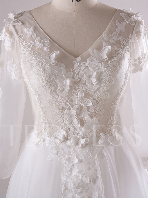 3/4 Length Sleeve Appliques Plus Size Wedding Dress