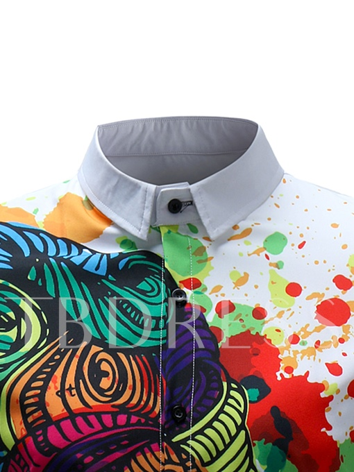 Lapel Splash-Ink Print Short Sleeve Men's Shirt