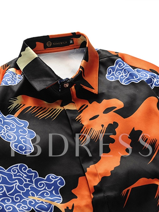 Square Collar Cloud Print Slim Men's Shirt