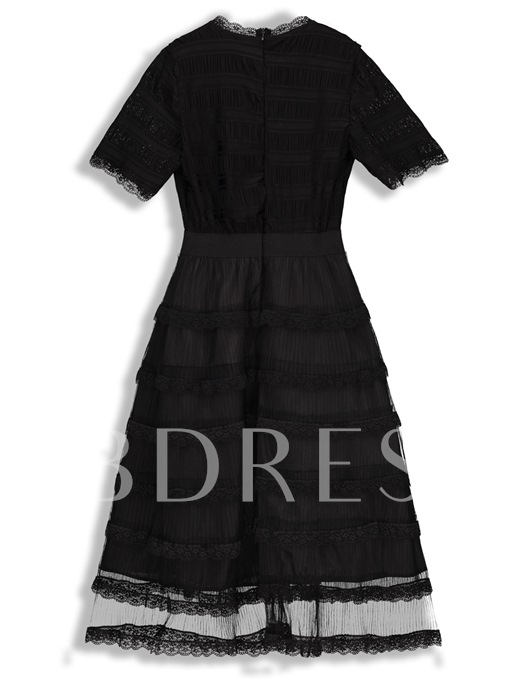 Pullover Knee-Length Short Sleeve A-Line Dress