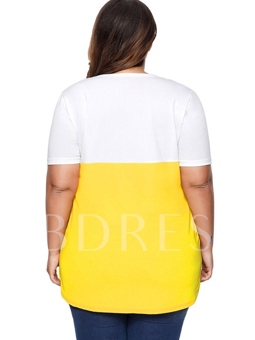 Plain Plus Size Color Block Women's T-Shirt