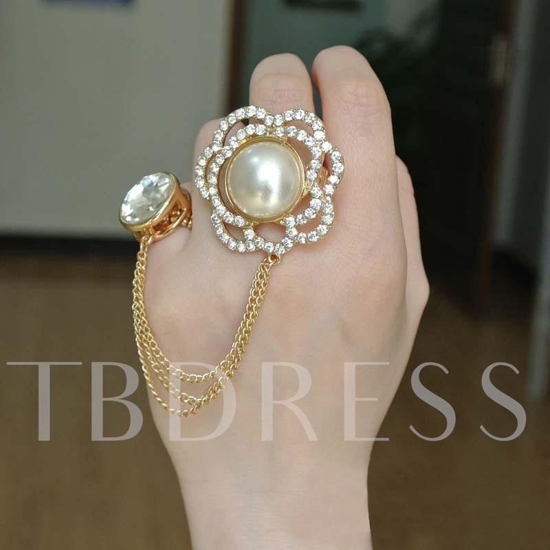 Rhinestone Pearl Inlaid Conjoined Ring