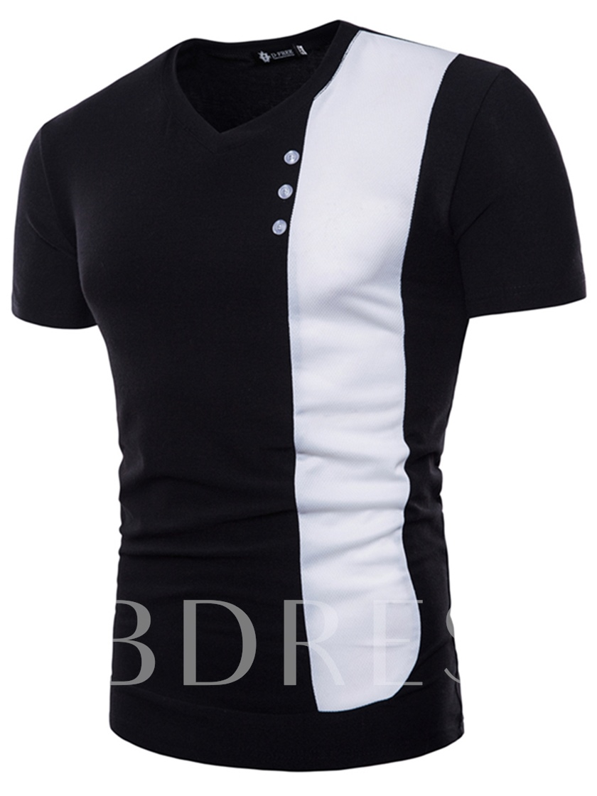 V-Neck Patchwork Slim Men's T-Shirt