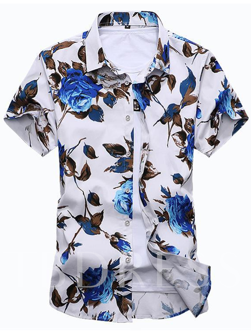 Plus-Size Lapel Rose Print Men's Leisure Shirt