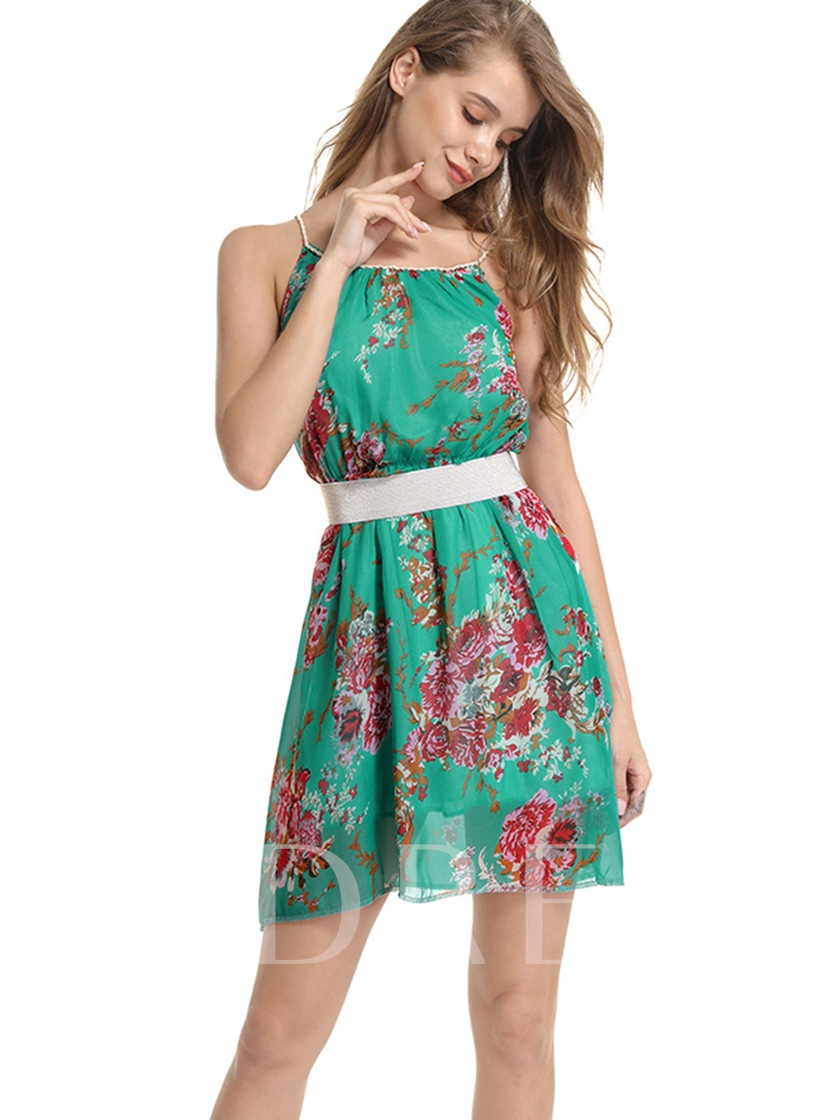 Green Floral Strappy Women's Day Dress