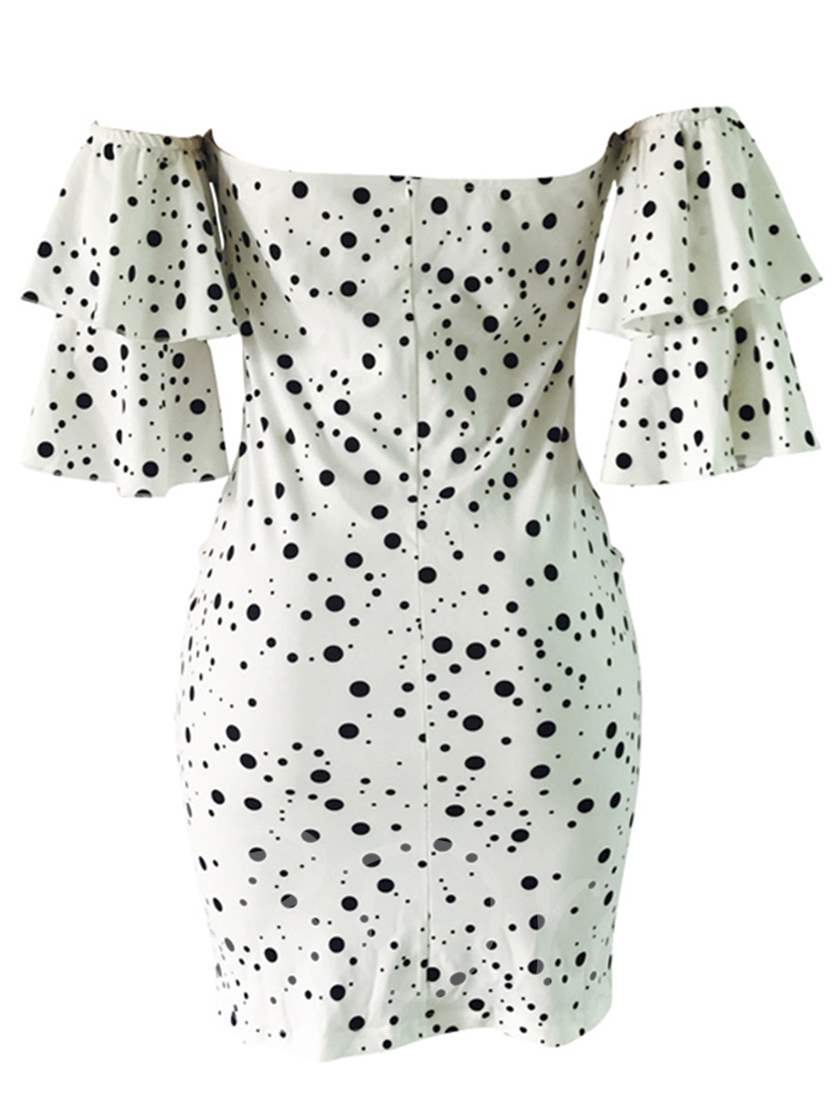 White Off Shoulder Polka Dots Women's Party Dress