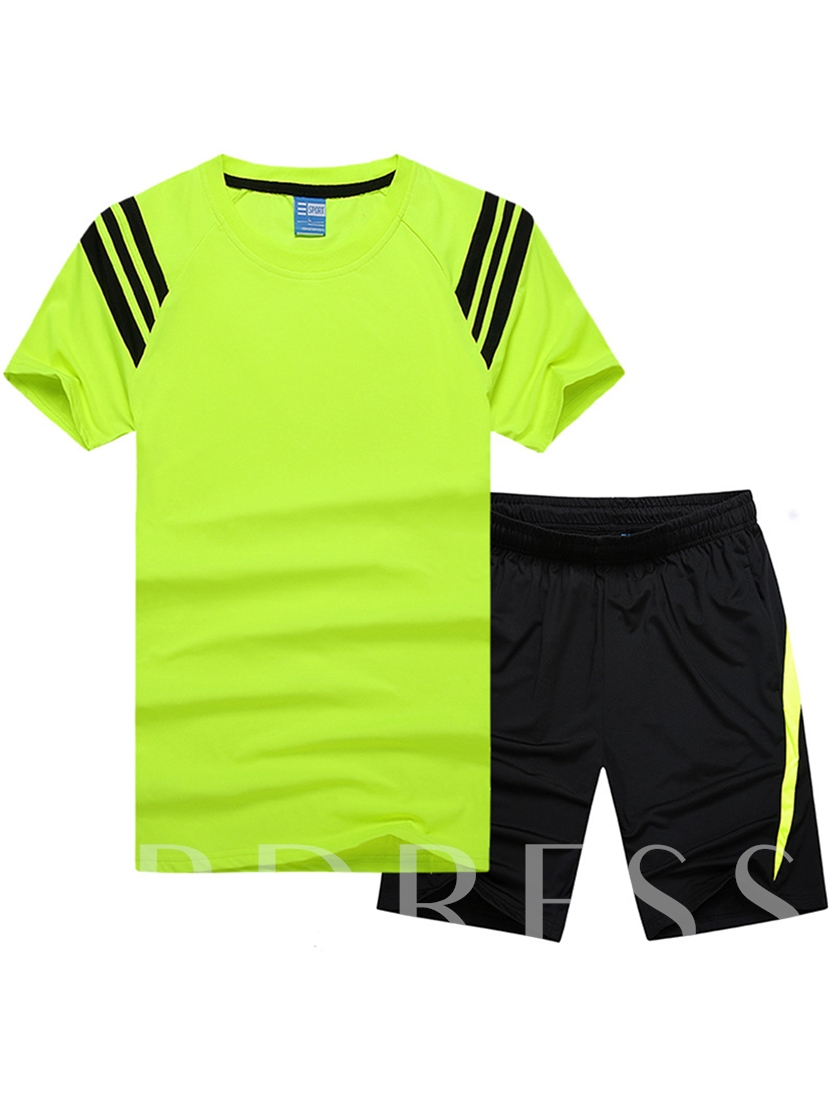 Fashion Sport Style Stripe Print Cotton Short Sleeves Comfortable Outfit