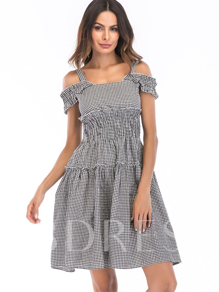 Cold Shoulder Plaid Women's Day Dress