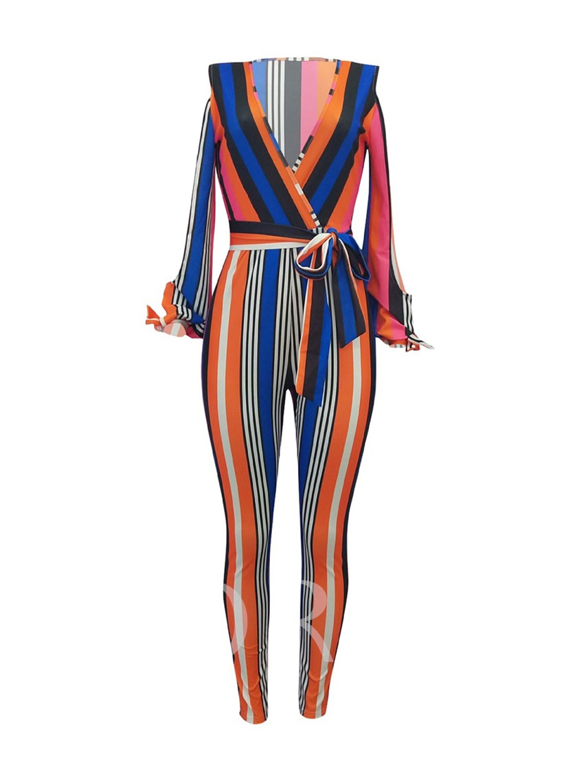 Stripe V-Neck Lace-Up Women's Jumpsuit