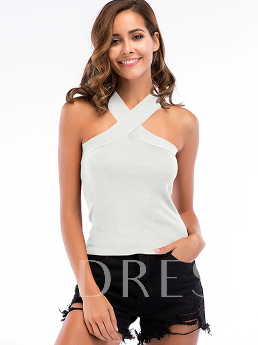 Plain Slim Fit Halterneck Cross Women's Tank Top