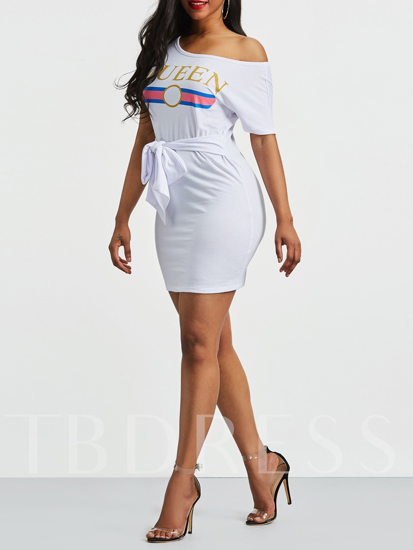 Letter Print Short Sleeve Lace up Bodycon Dress