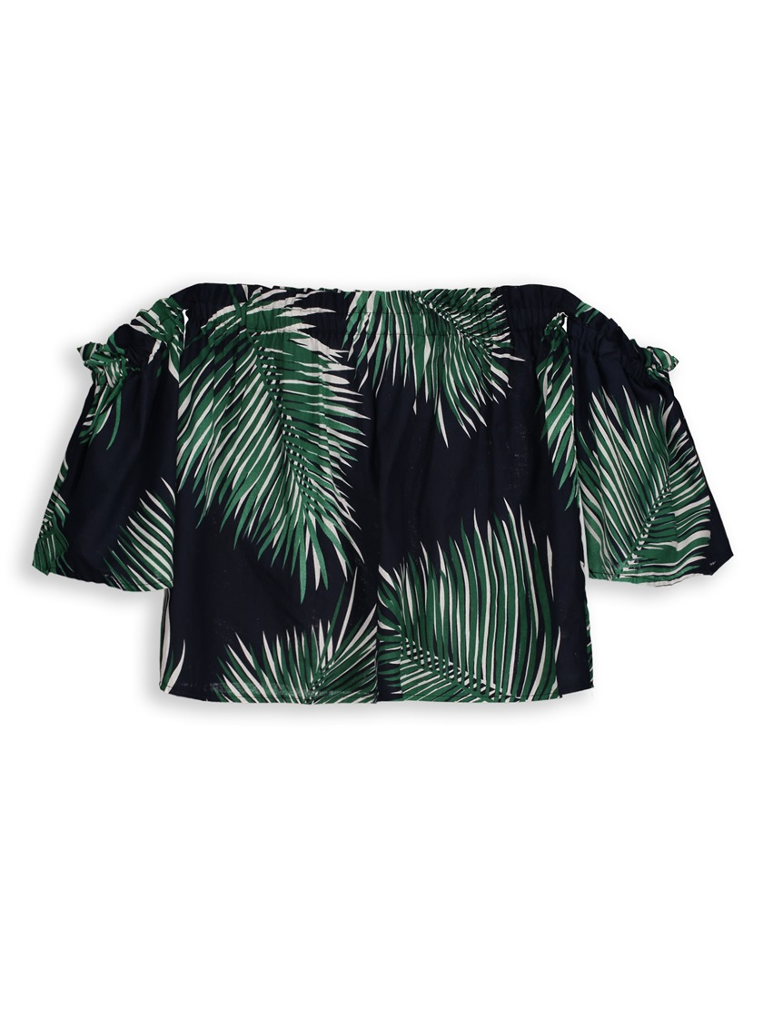 Slim Off Shoulder Plants Print Women's Blouse