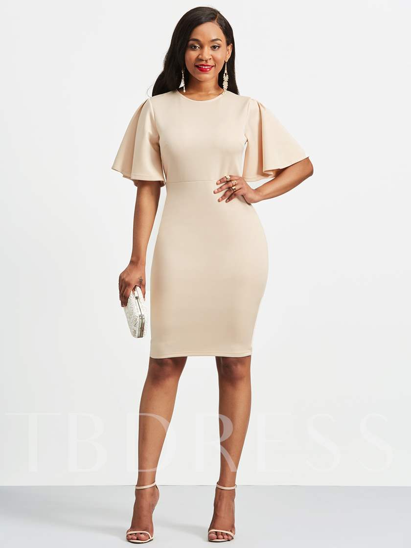 Short Sleeve Plain Women's Sheath Dress