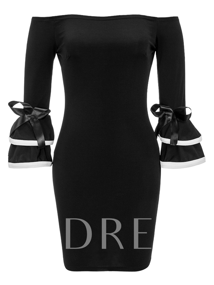 Buy Black off Shoulder Bell Sleeve Women's Party Dress, Summer,Fall, 13290303 for $21.99 in TBDress store