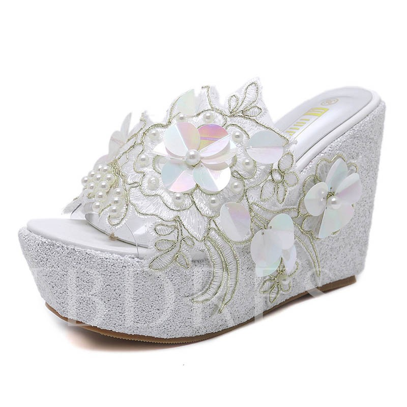 Buy Appliques Beadworks Wedge Heel Women's Summer Slippers, Spring,Summer, 13294096 for $35.33 in TBDress store