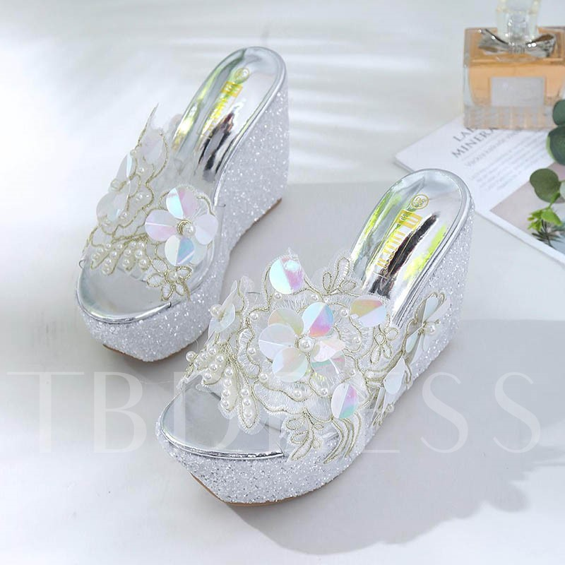 Appliques Beadworks Wedge Heel Women's Summer Slippers