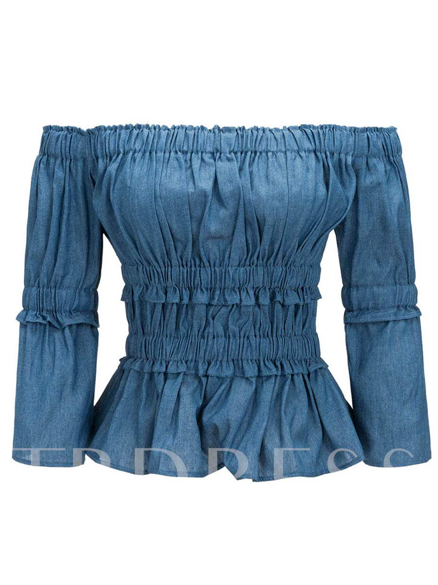 Buy Slash Neck Elastic Waist Women's Blouse, Summer, 13271361 for $17.65 in TBDress store