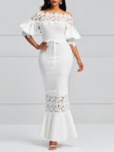White Elegant Off Shoulder Lantern Sleeve Dress