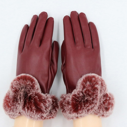Touch Screen Windproof Gloves with Imitation Fur