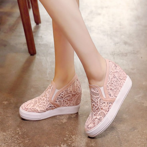 Mesh Lace Breathable Platform Slip-On Women's Sneaker