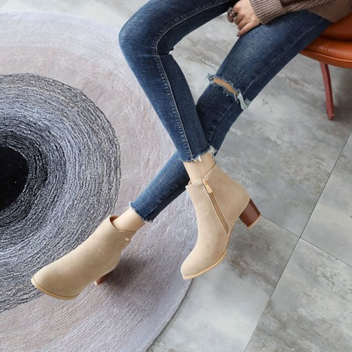 Chunky Heel Side Zipper Round Toe Fashion Ankle Boots for Women