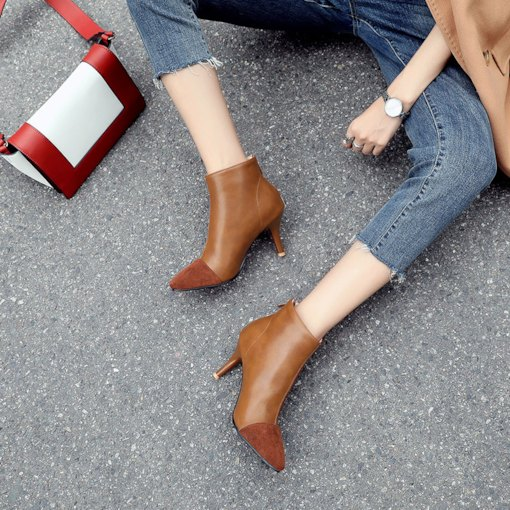 Pointed Toe Stiletto Heel Back Zip Patchwork Plain Women's Ankle Boots