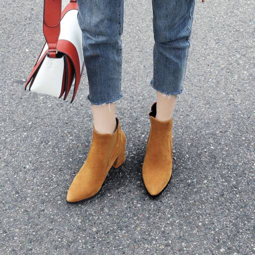 Suede Pointed Toe Elastic Classical Women's Ankle Boots
