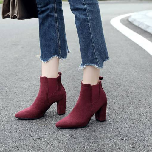 Pointed Toe Chunky Heel Elastic Stylish Women's Ankle Boots