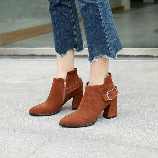 Thread Buckle Pointed Toe Chunky Heel Women's Ankle Boots