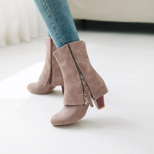 Side Zipper Chunky Heel Stylish Women's Ankle Boots