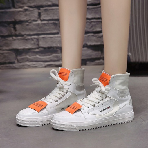Color Block High Top Platform Trendy Women's Sneaker